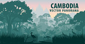vector panorama of Cambodia with crocodile, herons and ibis in jungle rainforest wetland