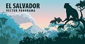 vector panorama of El Salvador with jungle raimforest and jaguar