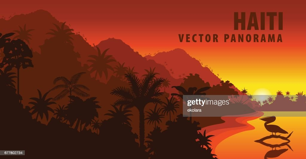vector panorama of Haiti with beach and pelican