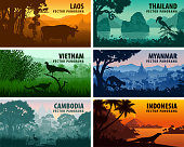 Vector panorama of Laos, Vietnam, Cambodia, Thailand, Myanmar, Indonesia