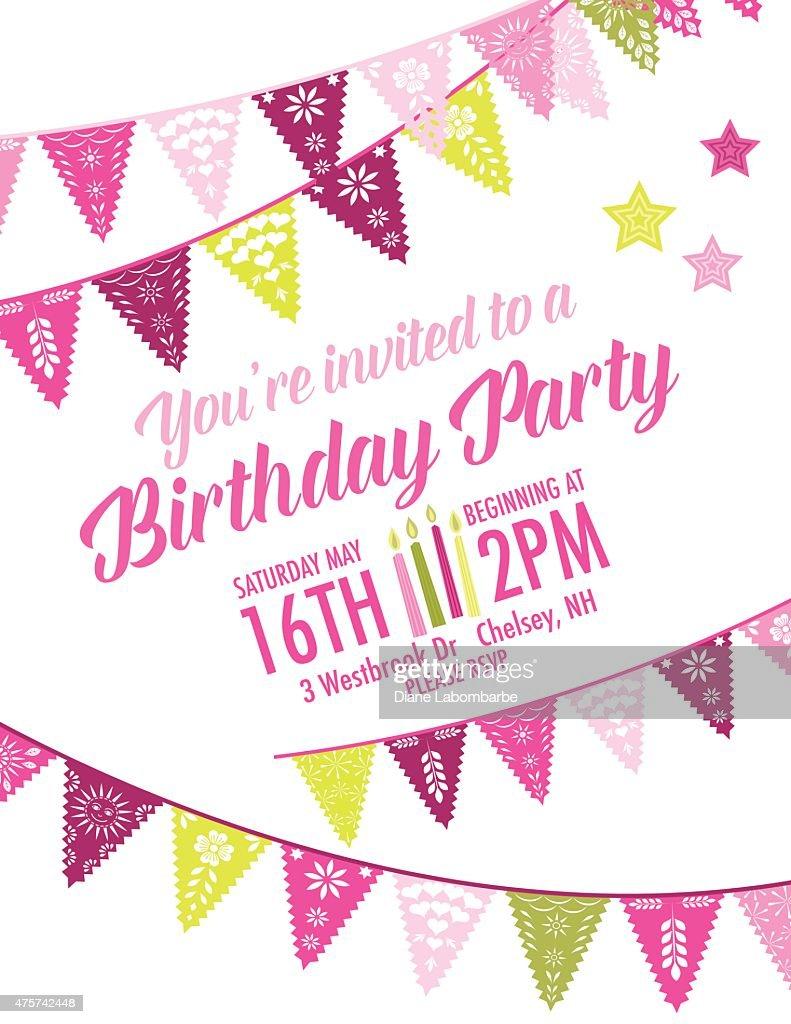 Vector Papel Picado Birthday Invitation Template Vector Art | Getty ...