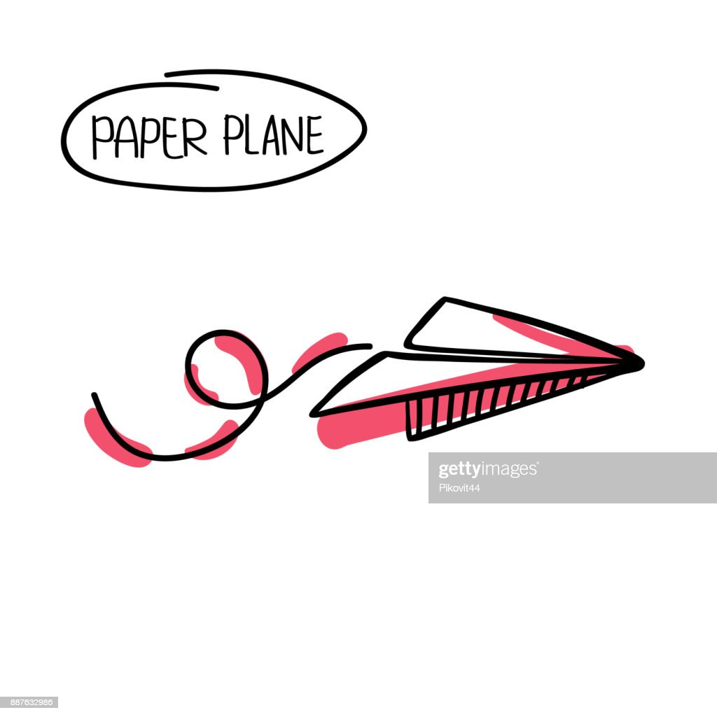 Vector Paper Airplane Travel Route Symbol Vector Illustration Of
