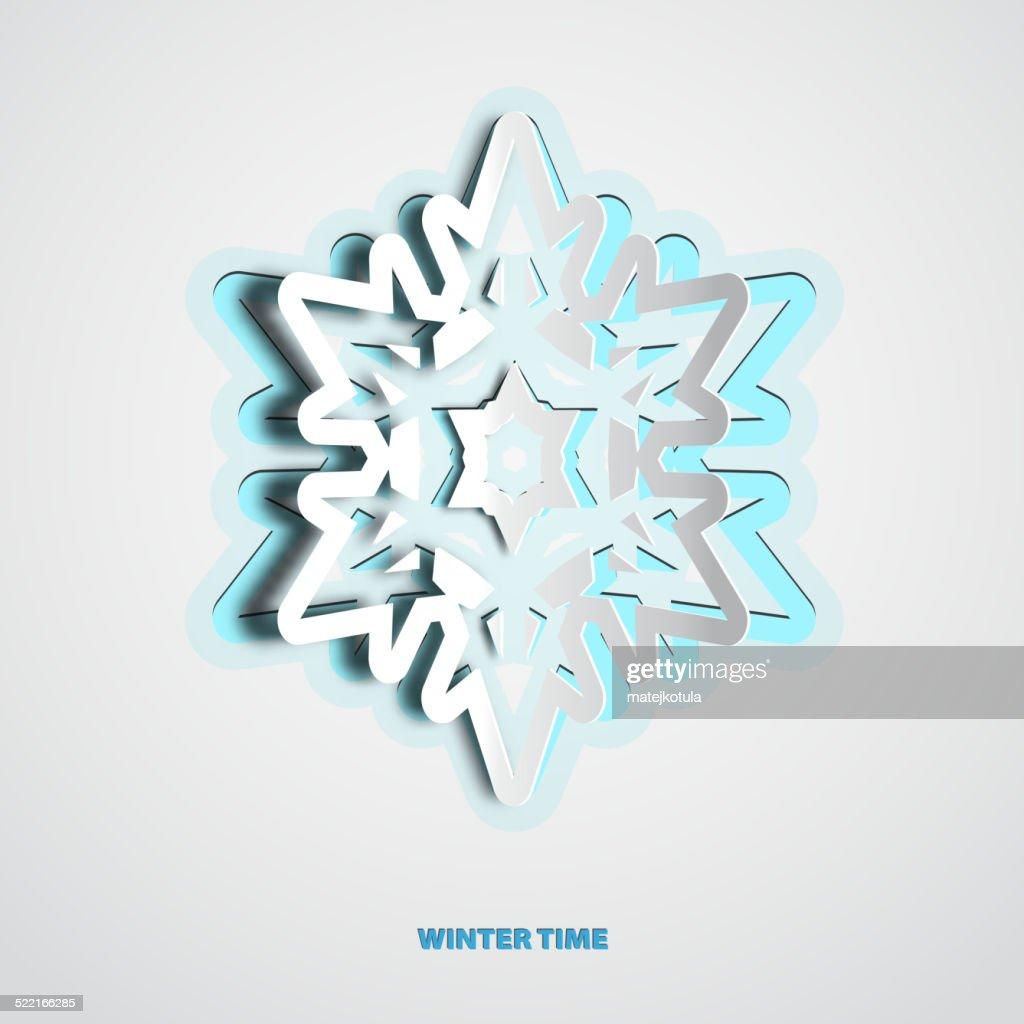 Vektorpapierschnitt Weihnachten Schneeflocke Auf Weißem Hintergrund ...