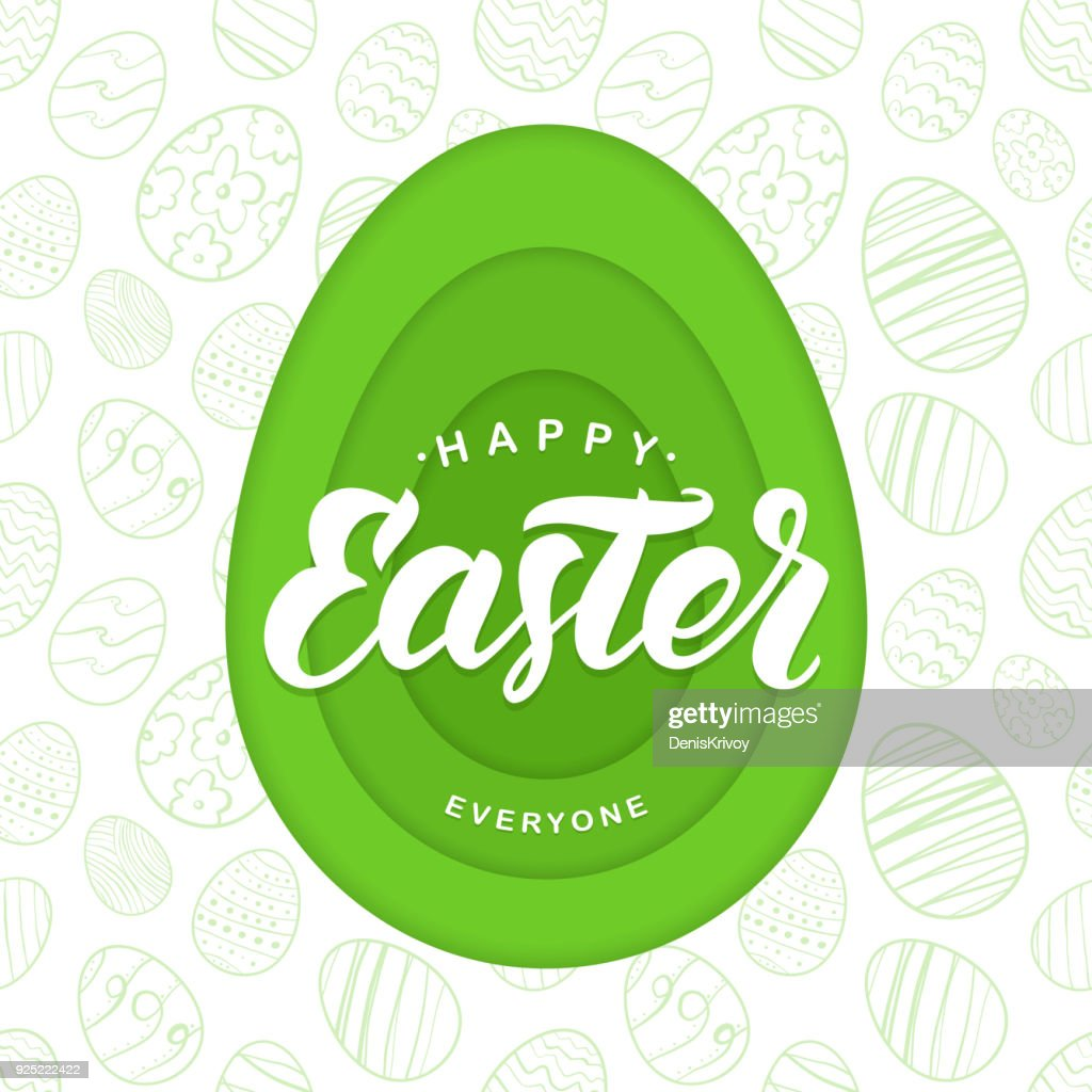 Vector Paper Cut Greeting card with handwritten lettering of Happy Easter Everyone