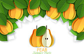 Vector paper cut yellow pear background, frame