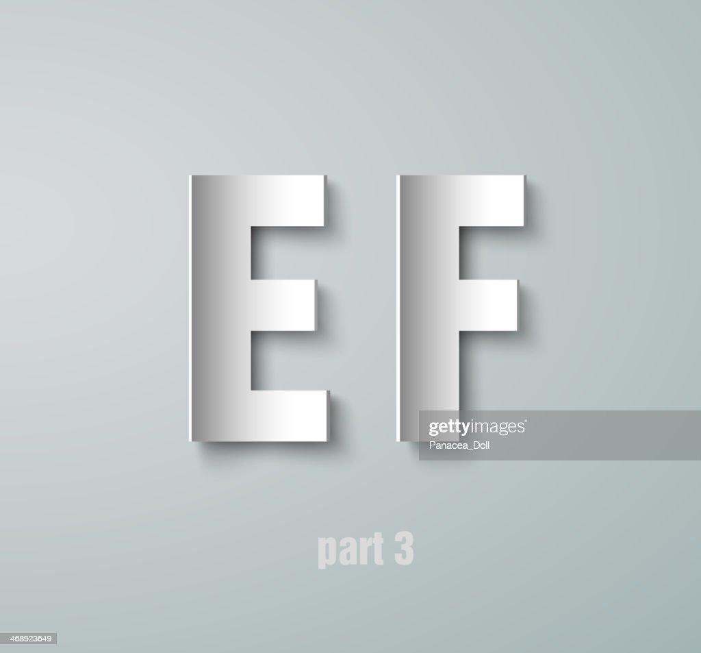 Vector Paper Graphic Alphabet E F