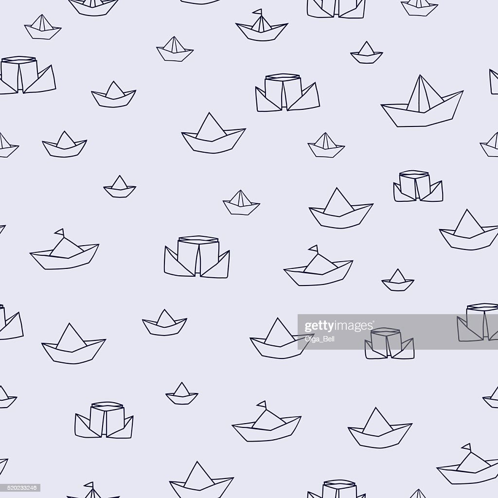 Vector paper ship  toy line seamless pattern. Travel adventure  symbol.