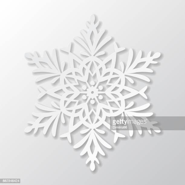 vector paper snowflake on white background - cut or torn paper stock illustrations, clip art, cartoons, & icons