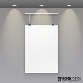 Vector paper to the wall with lights