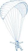 vector paragliding sportsmen in mountains