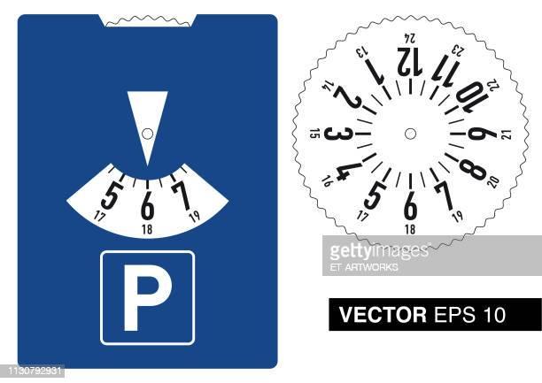 vector parking disc - parking stock illustrations, clip art, cartoons, & icons