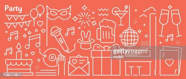 illustrations, cliparts, dessins animés et icônes de vector party et event banner design dans un style linéaire tendance. modèle abstrait de style d'art de ligne pour la page web, la bannière, la présentation - celebratory event