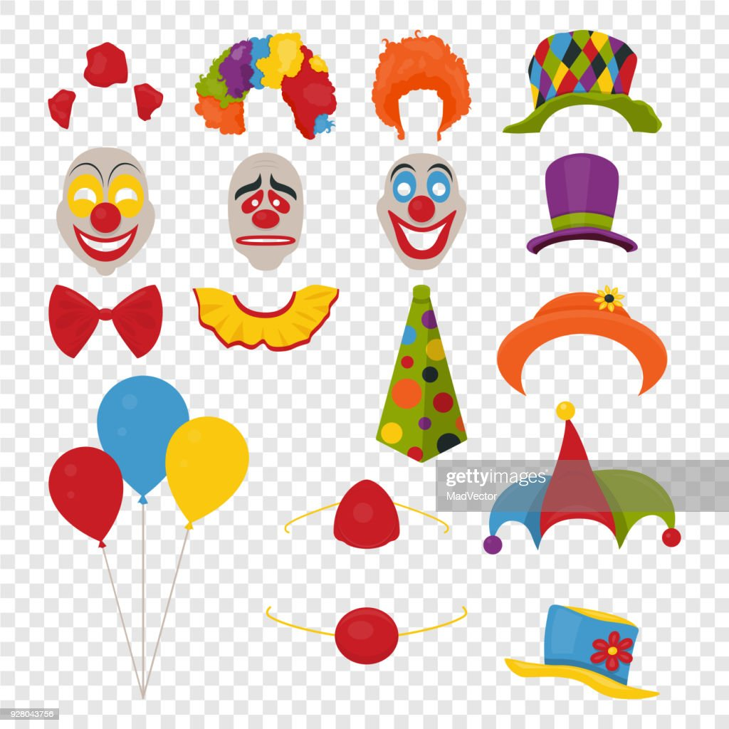 Vector Party Birthday or 1th april - Fool s Day - photo booth props. Hats, wigs, neckties, clown noses, masks, balloons and cylinder icon set isolated on transparency grid background. Clipart, design templates for graphics