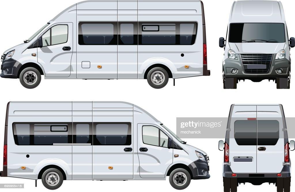 Vector passenger van template isolated on white