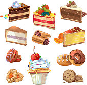 Vector pastry set in cartoon style