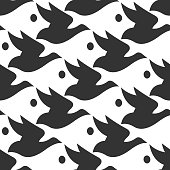 Vector pattern black and white silhouette bird and fish seamless background in Escher style.