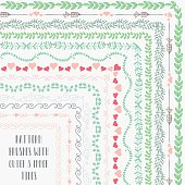 Vector pattern brushes with outer and inner tiles