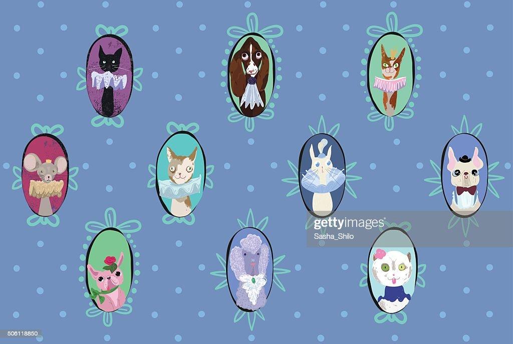 Vector pattern - Funny pets portraits