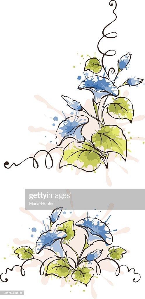 Vector pattern of blue flowers bindweed