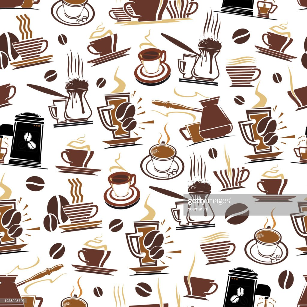 Vector pattern of coffee cups and beans