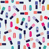 Vector pattern of colorful nail polish bottles.