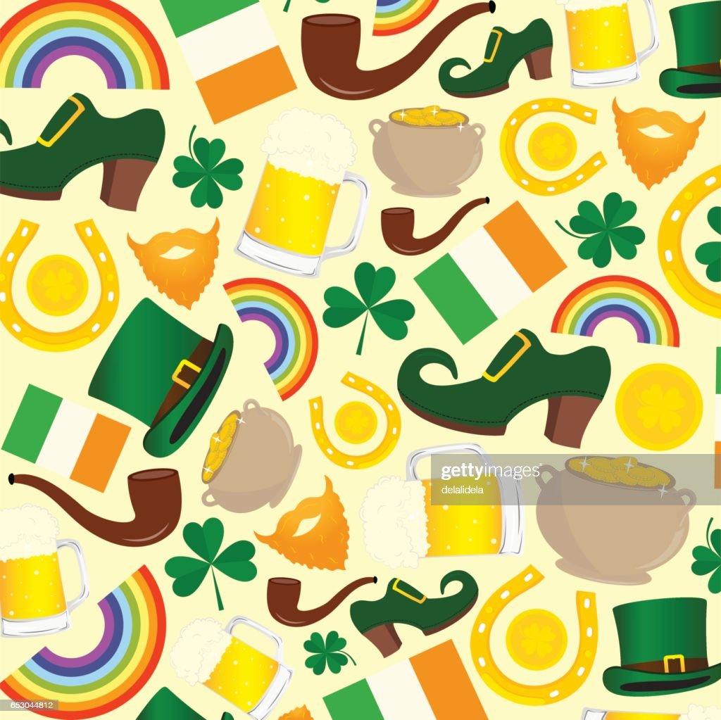 Vector pattern of St. Patrick's day symbols