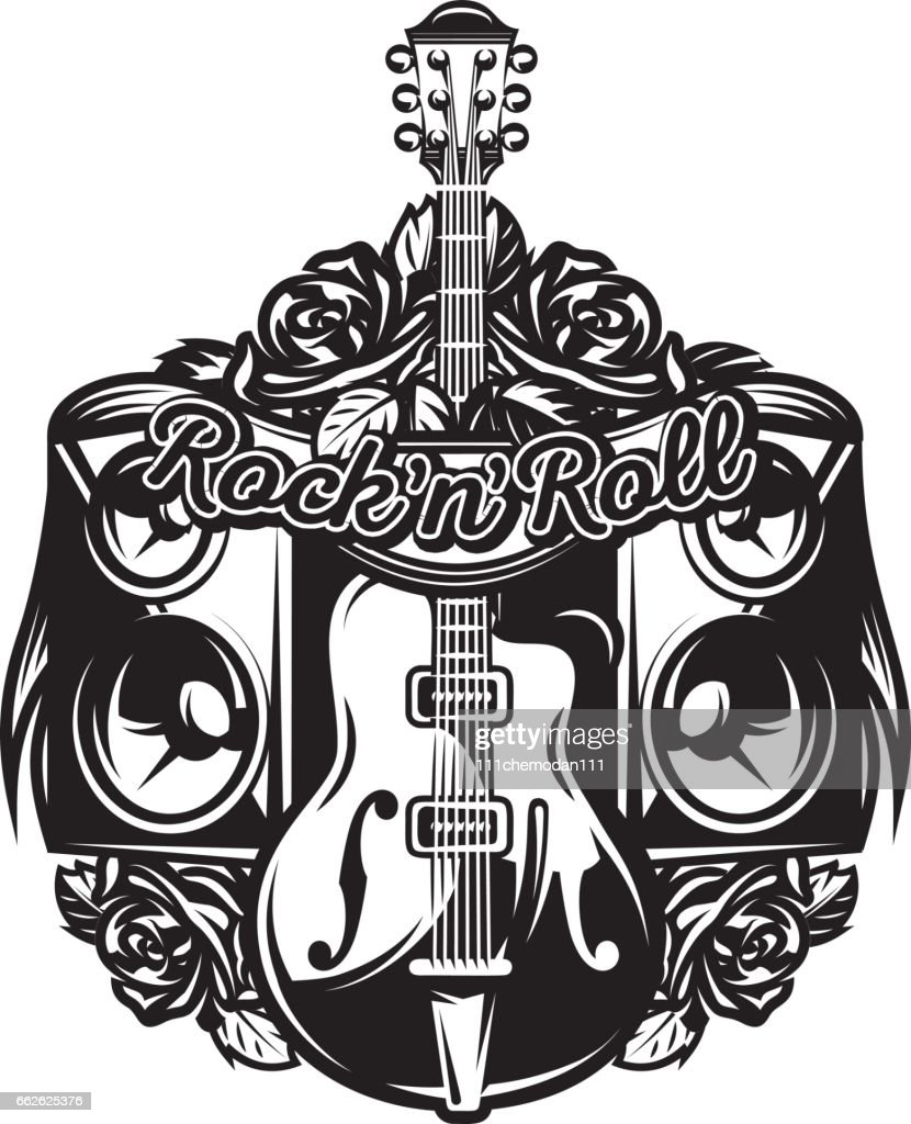 vector pattern on the theme of rock music, rock and roll