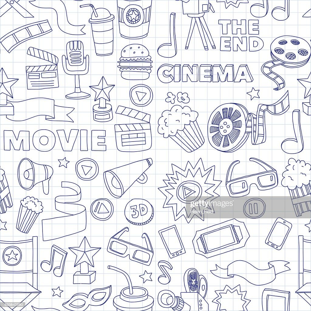 Vector pattern with cinema hand drawn icons Doodle style
