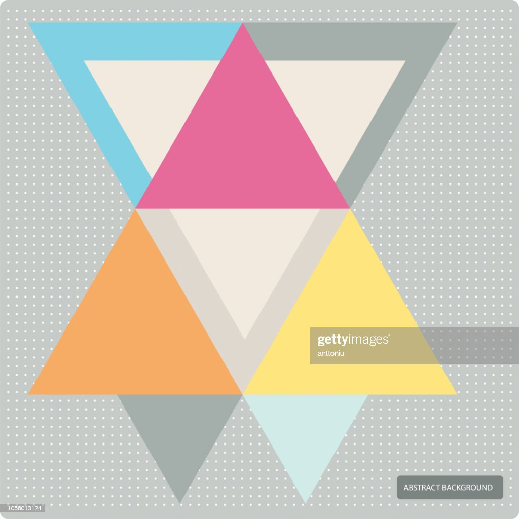 Vector pattern with colorful geometric shapes, triangles,lines and small polka dots