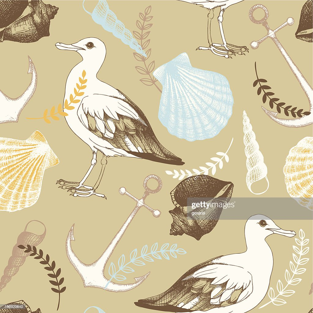 Vector pattern with hand drawn sea illustrations.