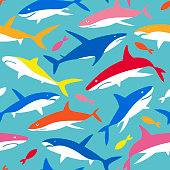 Vector Pattern with silhouettes of underwater Sea Fish, Contemporary Background and print, Cloth design for Kids