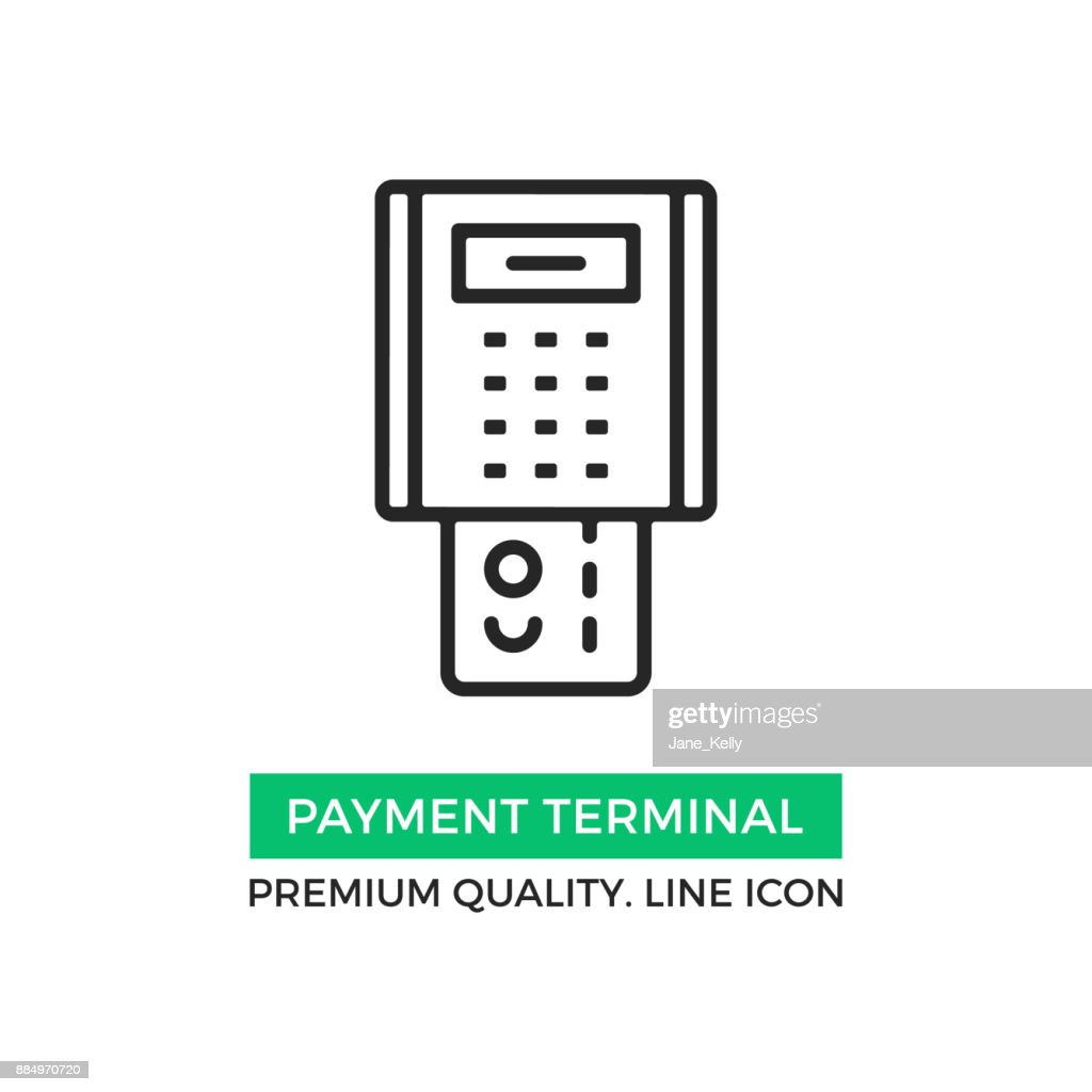 Vector payment terminal icon. POS terminal with inserted credit card. Point of sale concept. Premium quality graphic design element. Modern stroke sign, linear pictogram, outline symbol, simple thin line icon