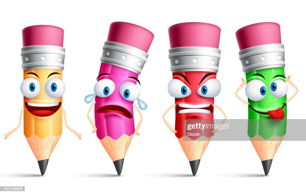 Vector pencil character or mascot colorful set with facial expressions