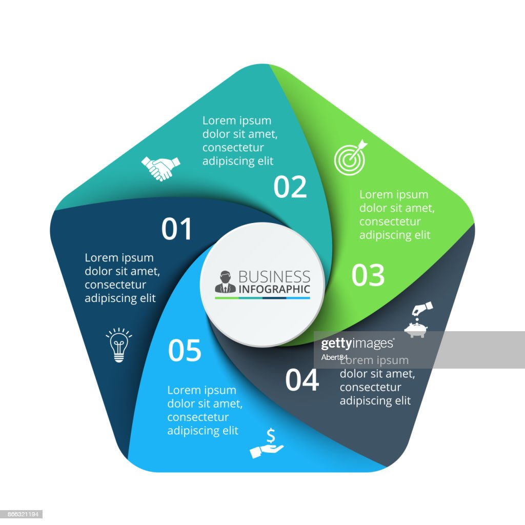 Vector pentagon element for infographic. Template for cycle diagram, graph, presentation and chart. Business concept with 5 options, parts, steps or processes. Abstract background.