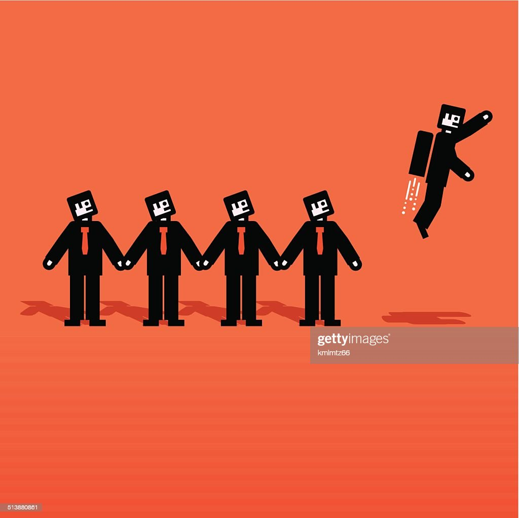 Vector people chain with one flying