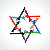 Vector People Hands in a David Star