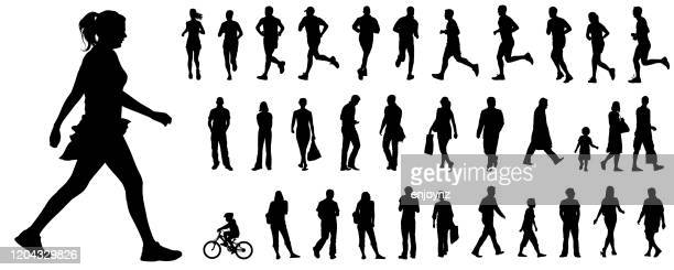 vector people silhouettes - track event stock illustrations