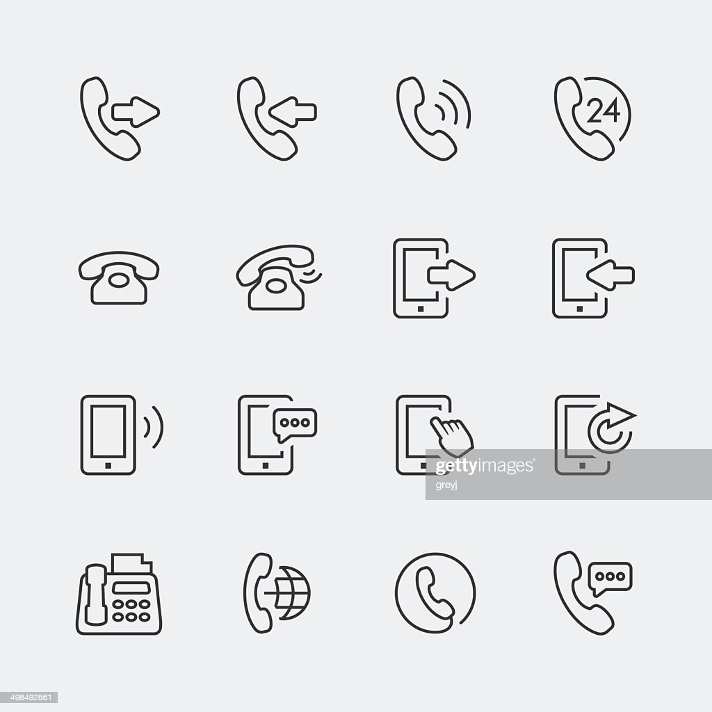 Vector phone and communication mini icons set