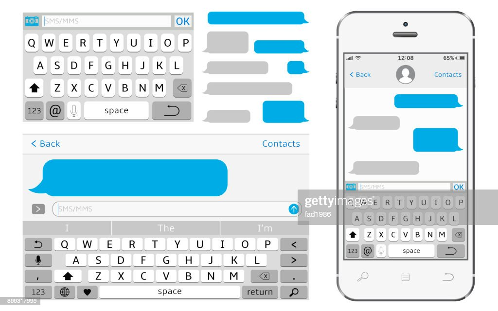 Vector phone chat interface. Sms messenger.