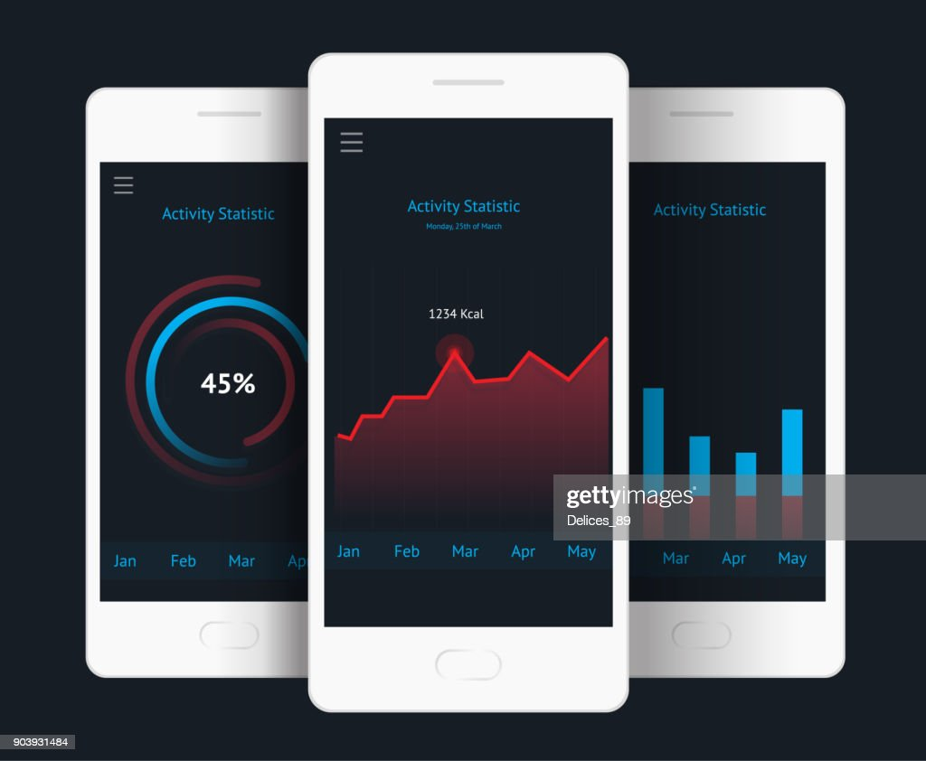 Vector phone with graph, chart, raiting elements