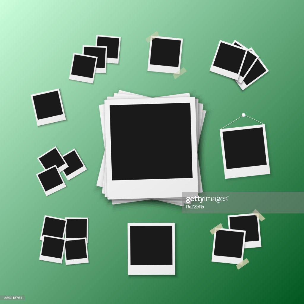 Vector Photo Frame. Realistic Snapshot Modern Photo. Instant Album Photoframe Paper Picture. Polaroid Mockup