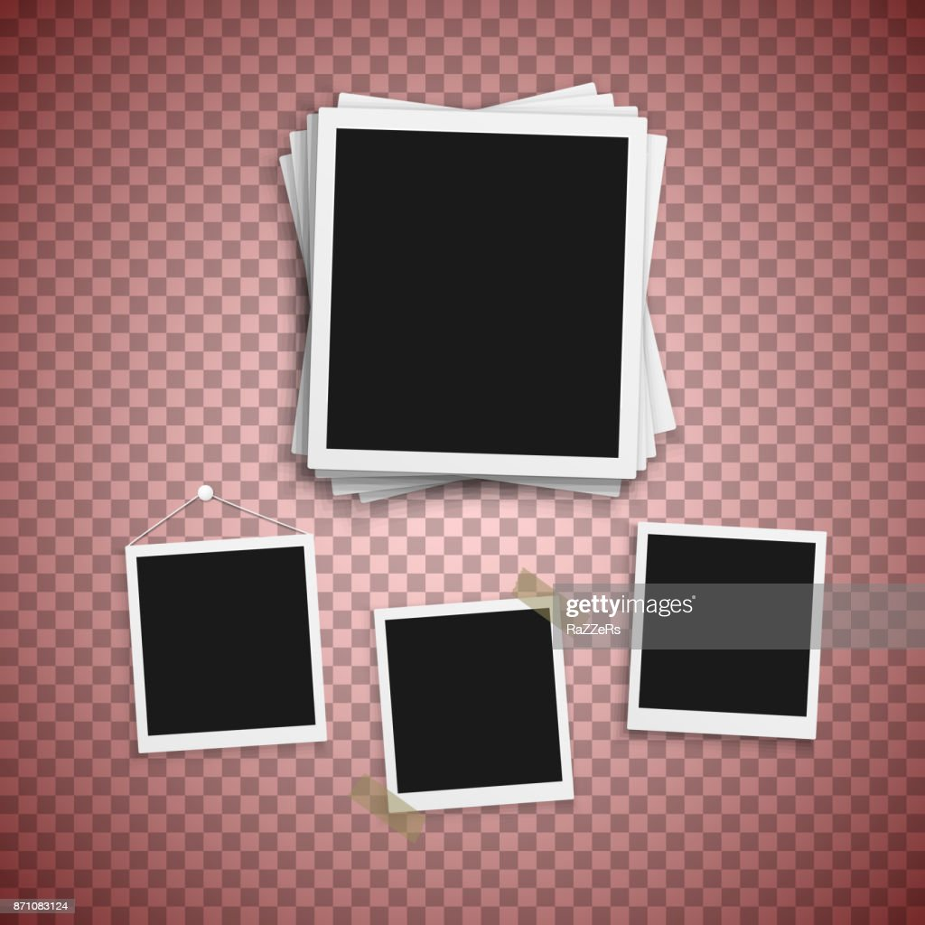 Vector Photo Frame. Realistic Snapshot Modern Photo. Instant Album Photoframe Paper Picture. Polaroid Template