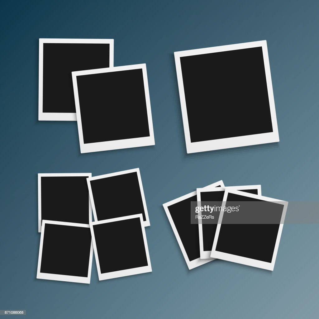 Vector Photo Frame. Realistic Snapshot Modern Photo. Instant Album Photoframe Paper Picture