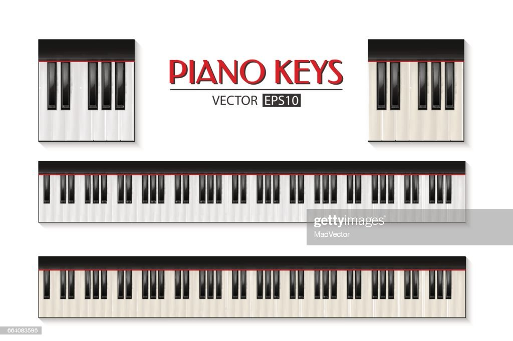 Vector photorealistic piano keyboard icon set isolated on white background. Design template in EPS10