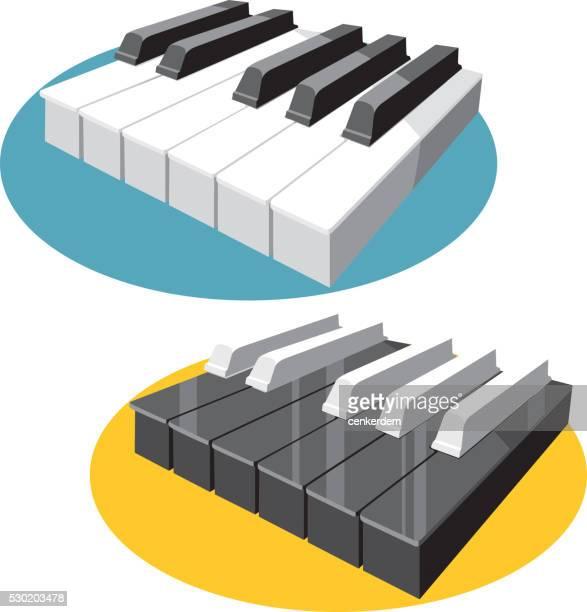 ilustraciones, imágenes clip art, dibujos animados e iconos de stock de vector de teclado de piano - tecla de piano