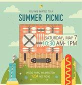 Vector picnic glade card. Food and pastime illustration. Flat. Design