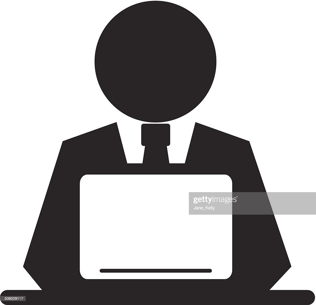Vector Pictogram Businessman Working on Computer