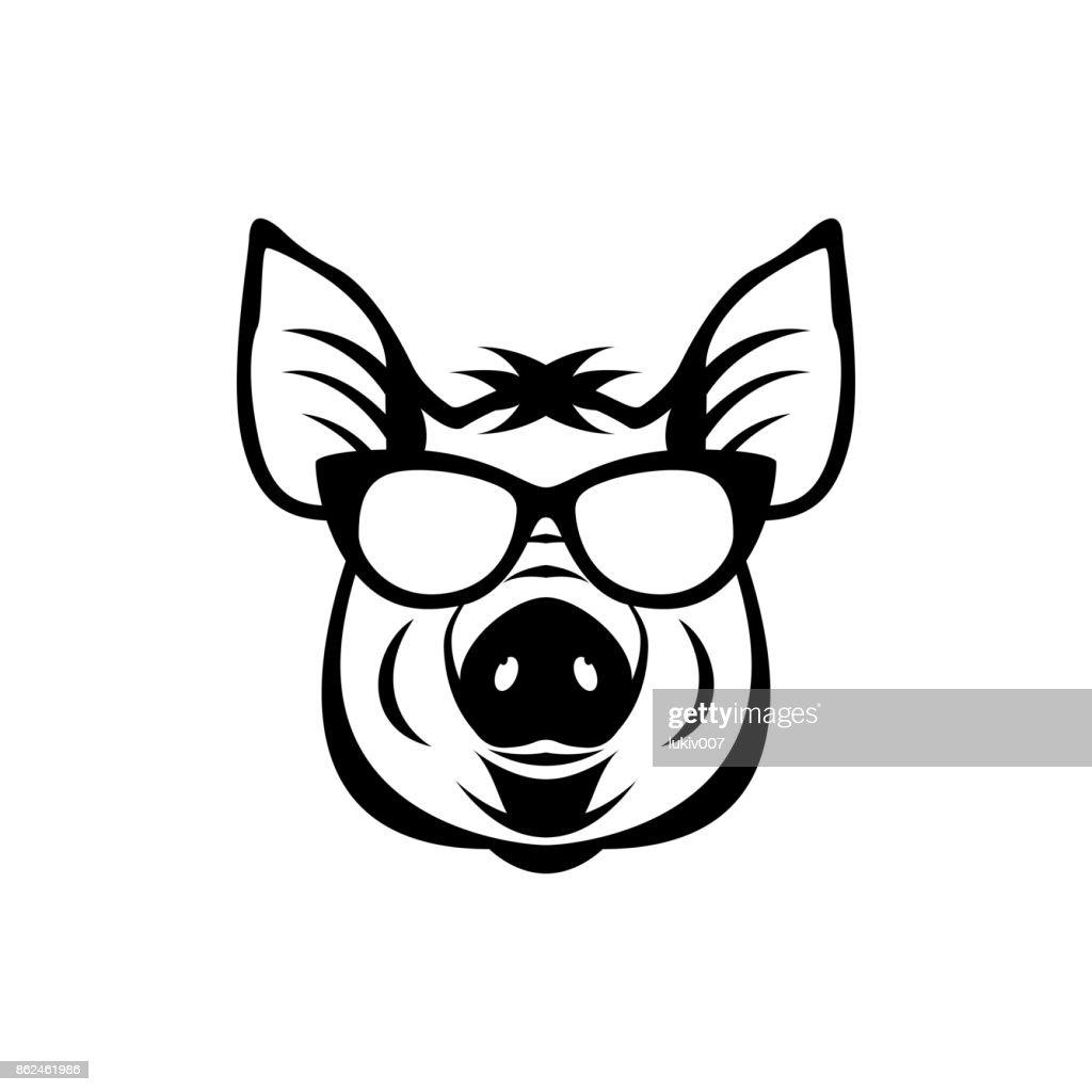 Vektor Schweinekopf Gesicht Für Retrosymbole Embleme Abzeichen ...