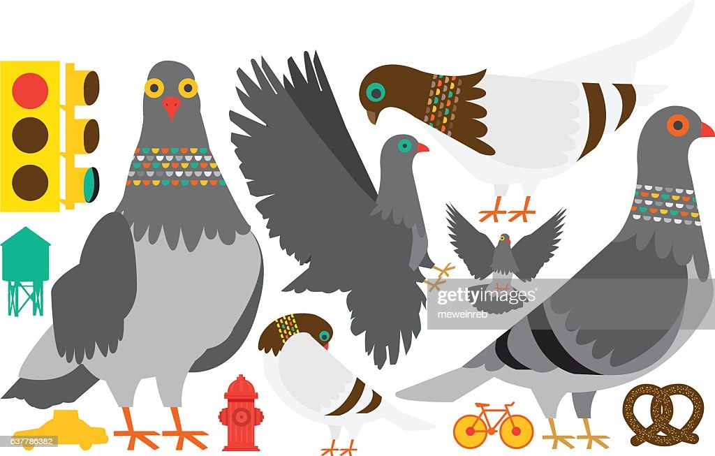 Vector Pigeons in New York City