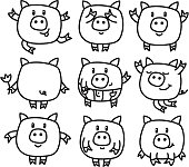 Vector  pigs cartoons.